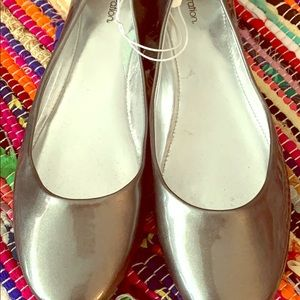 Silver Sparkly Flats Size 9